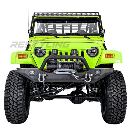 Restyling Factory 97 06 Jeep Wrangler TJ Rock Crawler Front Bumper With  Winch Mount Plate