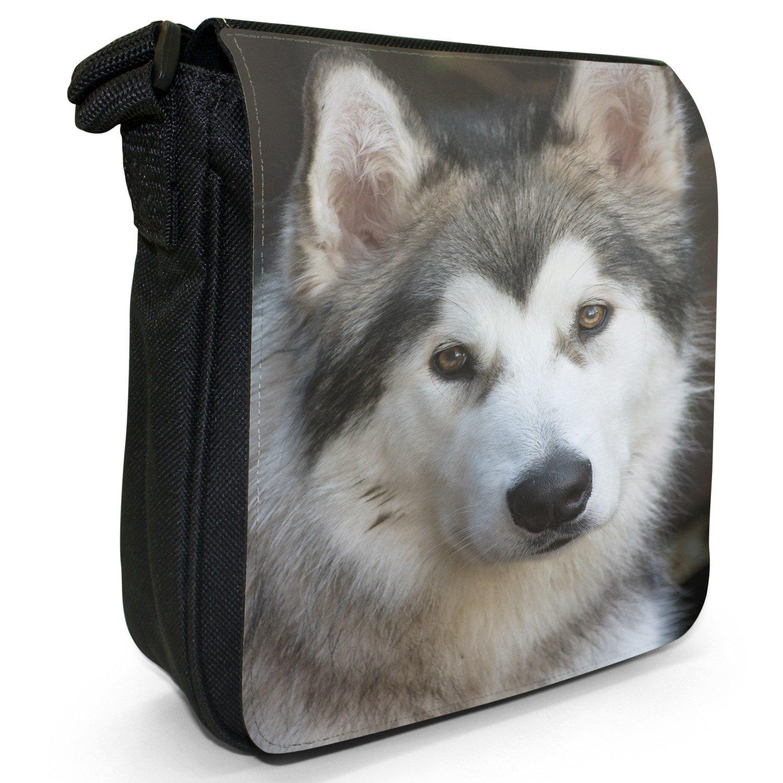 Alaskan Malamute Dog Small Black Canvas Shoulder Bag / Handbag Snuggle