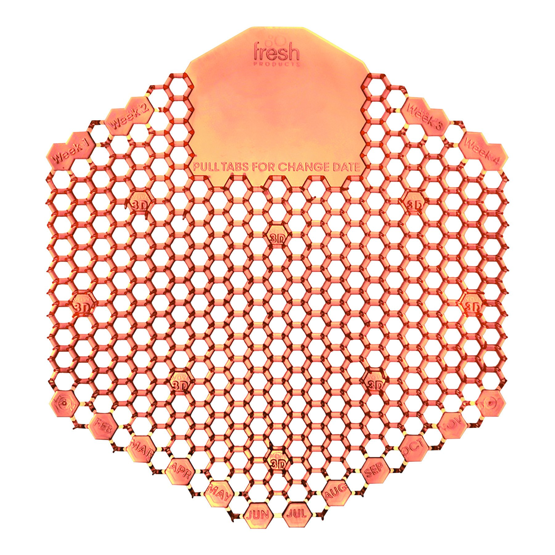 Fresh Products 3WDS60MAN Wave 3D Urinal Deodorizer Screen, Orange, Mango Fragrance, Box of 10 Screens by Fresh Products