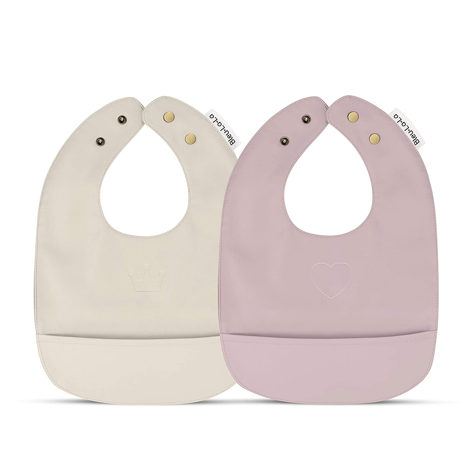 Vegan Leather Easy Clean Baby Bibs with Practical Food Catching Pocket and Snaps - Set of Super Cute Soft Vegan Leather Bibs - Great for Feeding and Teething Infants Babies and Toddlers 9-24 Months