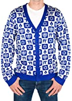 Men's Classy Chanukah Cardigan Sweater (Blue) Ugly Holiday Sweater