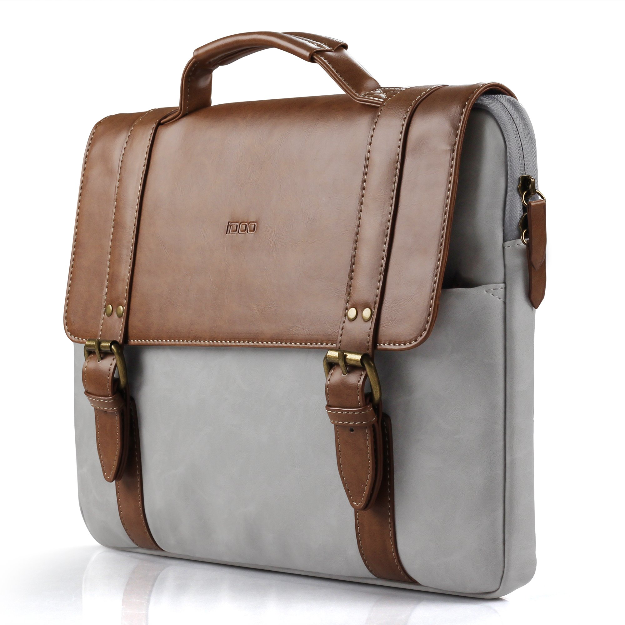 iDOO Faux Leather Laptop Bag Briefcase with Elegant Business Casual Style for 13-13.3 inch MacBook, Brown