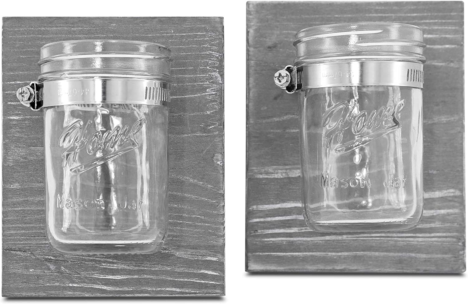 Rustic Mason Jar Organizer - Hanging Bathroom Storage, Mason Jar Office Organizer, Farmhouse Organizer for Planters, Candles [Set of 2]
