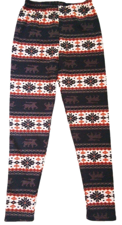 erdbeerloft - Damen Mädchen warme Norweger/Weihnachts- Leggings/Jeggings, Stretch-Röhre mit hohem Bund, Onesize, braun/bunt