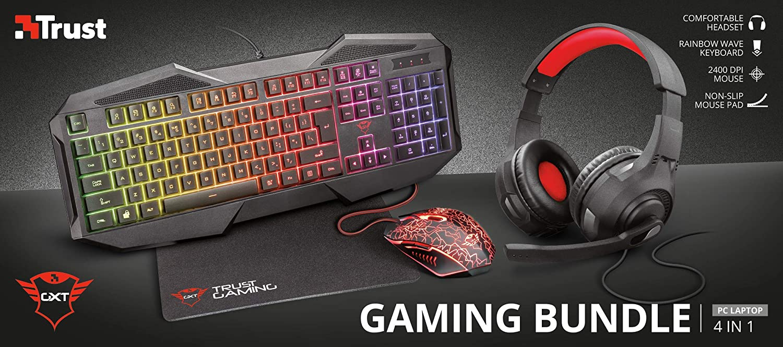 Trust Gaming GXT 1180RW - Paquete Gaming 4 en 1 (Auriculares, Alfombrilla, Teclado y ratón con iluminación) Color Negro