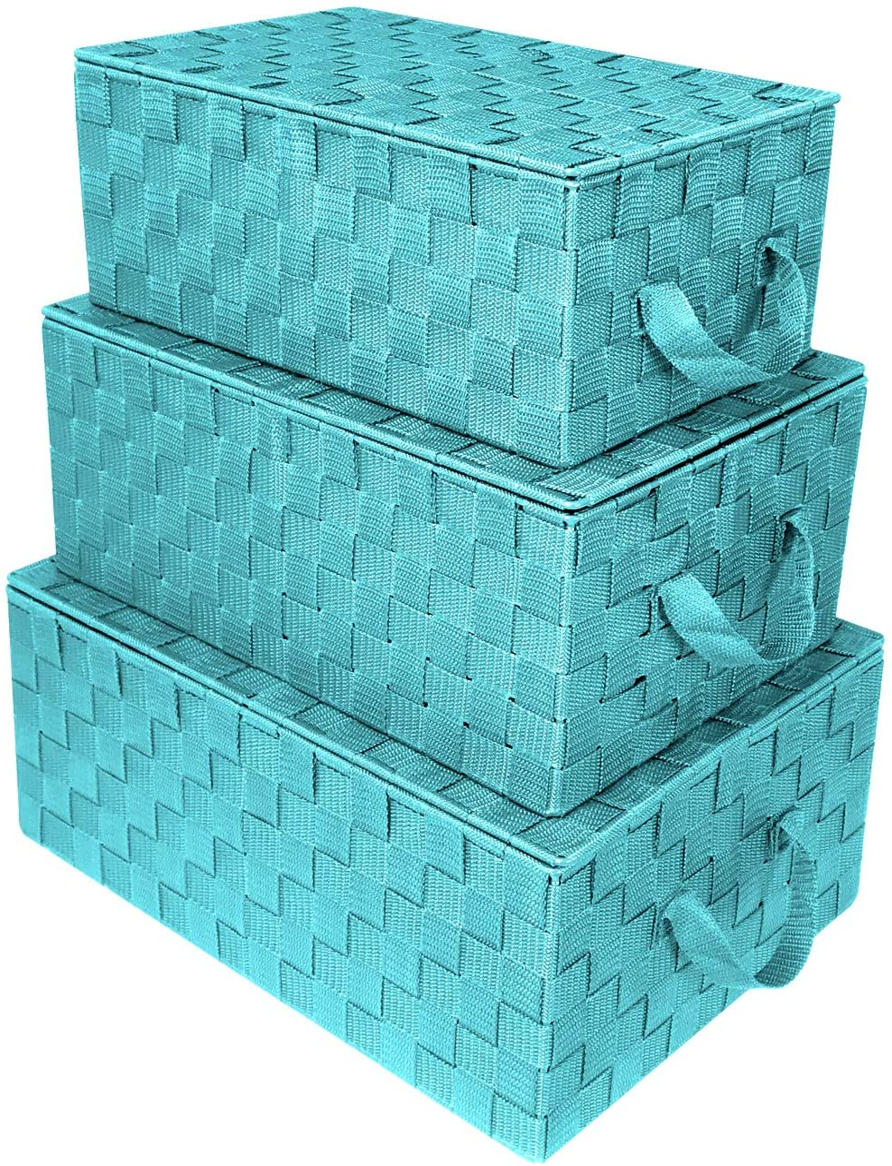 Sorbus Storage Box Woven Basket Bin Container Tote Cube Organizer Set Stackable Storage Basket Woven Strap Shelf Organizer Built-in Carry Handles (Woven Lid Baskets - Aqua)