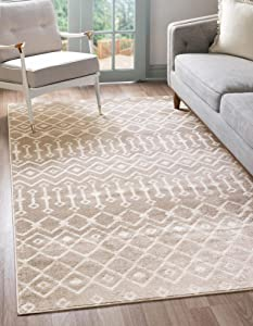 Rugs.com Geometric Kasbah Trellis Collection Rug – 6' X 9' Beige Low Pile Rug Perfect for Living Rooms, Large Dining Rooms, Open Floorplans