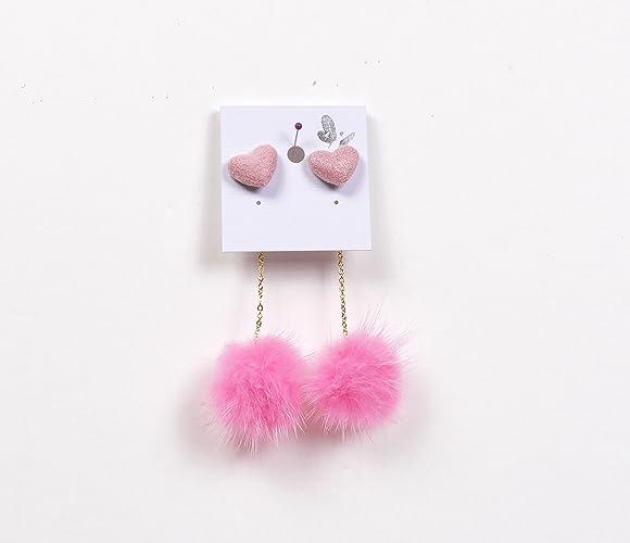 fd2bc13823b1bb Amazon.com: Pink Genuine Mink Fur Pom Pom Earrings/ Mink dangle Earrings/  Heart studs Earrings/ Fur drop Earrings/ Heart gold chain mink earrings:  Handmade
