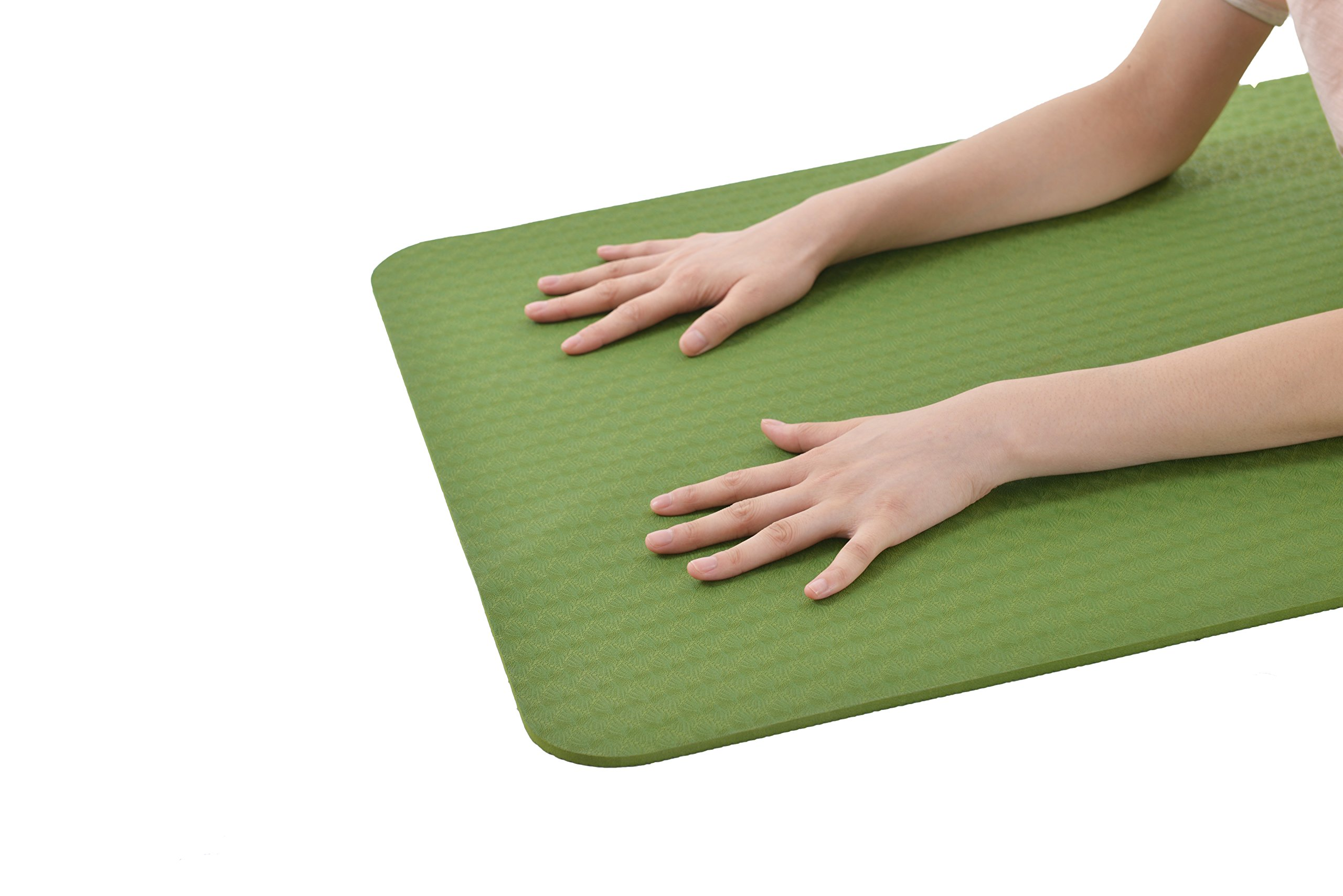 DynActive Yoga Mat by 1/4'' (7mm) Thick Premium Non Slip Eco-Friendly with Carry Strap- 100% TPE Material The Latest Technology in Yoga- High Density Memory Foam- Non Toxic, Latex Free, PVC Free