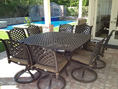 Nassau Cast Aluminum Powder Coated 8-Person Patio Dining Set