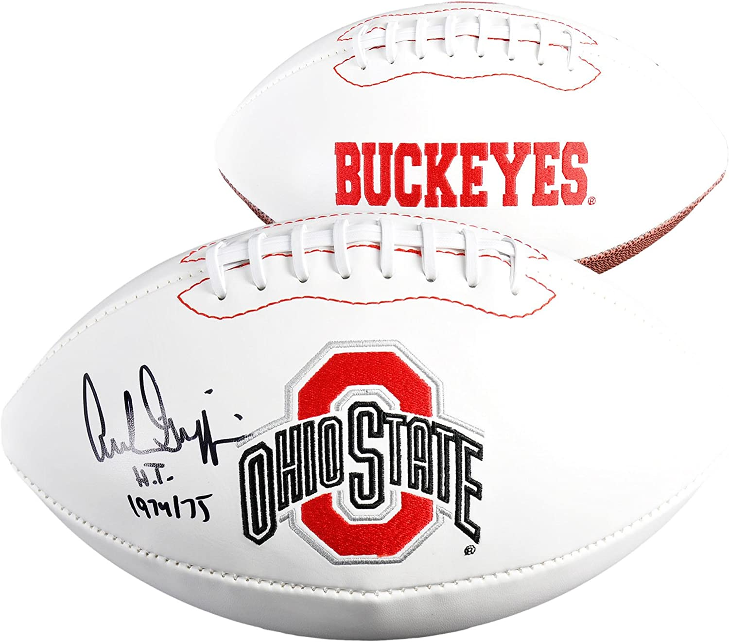 Archie Griffin Ohio State Buckeyes Autographed White Panel Football withHT 1974//75 Inscription Fanatics Authentic Certified