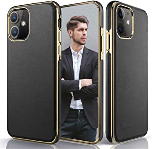 LOHASIC for iPhone 11 Case, Luxury Leather Ultra Slim Flexible Soft Grip Protective Cases Compatible with Apple iPhone 11 6.1 inch (2019) - Black
