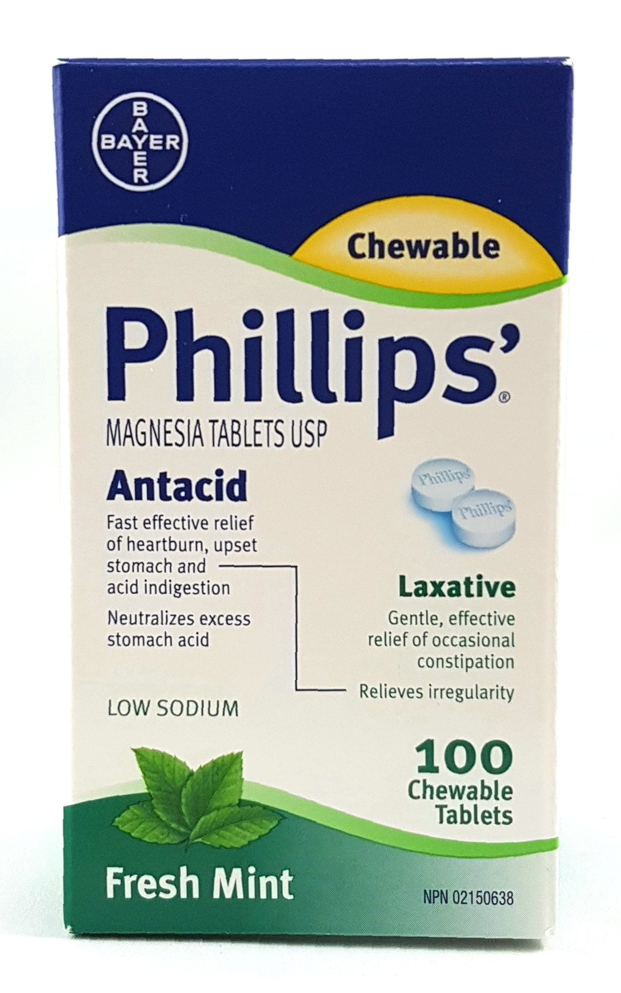 Phillips' Mint Chewable Laxative Tablets, 100 Count Box