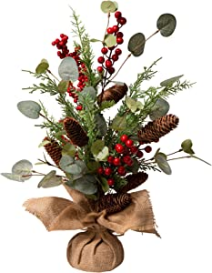 """Glitzhome Christmas Table Tree with Burlap Base Centerpiece for Party Festival Home Decor, 20"""" H, Pine Cone"""