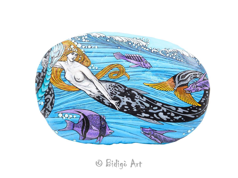 Sirena Pintada, Piedra pintada a mano, Pintura de Sirena