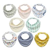 Matimati Baby Bandana Drool Bibs for Girls with Snaps & Pom Poms (Darling Bandana Bib Set)