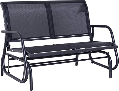 Outsunny 48 Outdoor Patio Swing Glider Bench Chair – Dark Gray