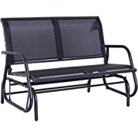 Outsunny Outdoor Double Rocking Chair with a Comfortable Sling Fabric Backing, Steel Frame, Curved Rocking Arms, Dark Grey