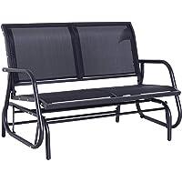 Outsunny Patio Double Glider Bench Swing Chair Rocker Heavy-Duty Outdoor Garden Black