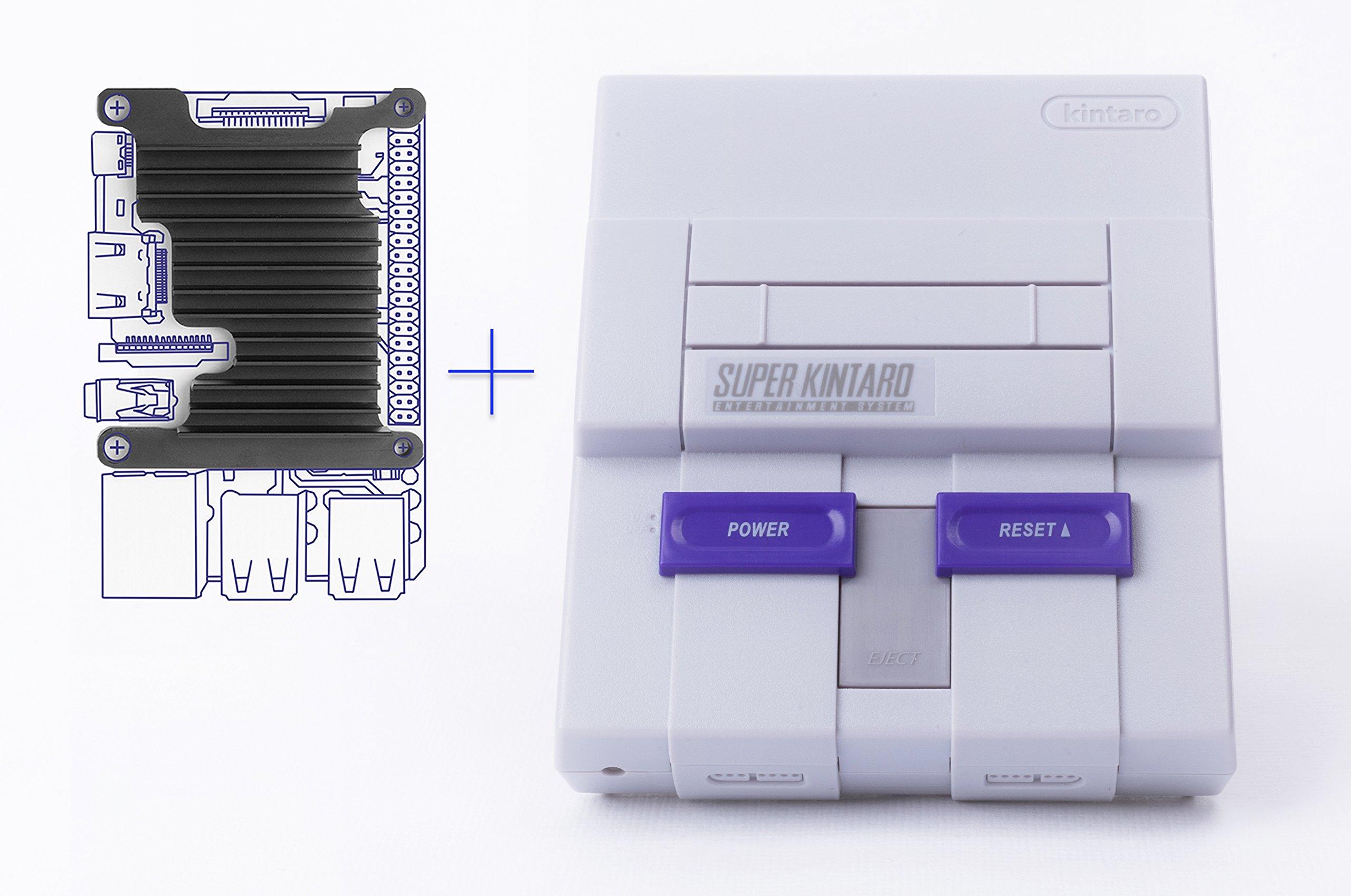 Kintaro Super Kuma 9000 - SNES Inspired Raspberry Pi Case with Functional Power & Reset Buttons, LED and Custom Aluminum Heatsink (Raspberry Pi Model 3B) by Kintaro (Image #1)