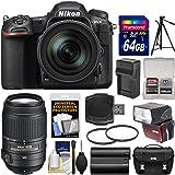 Nikon D500 Wi-Fi 4K Digital SLR Camera & 16-80mm VR with 55-300mm VR Lens + 64GB Card + Case + Flash + Battery & Charger + Tripod + Kit