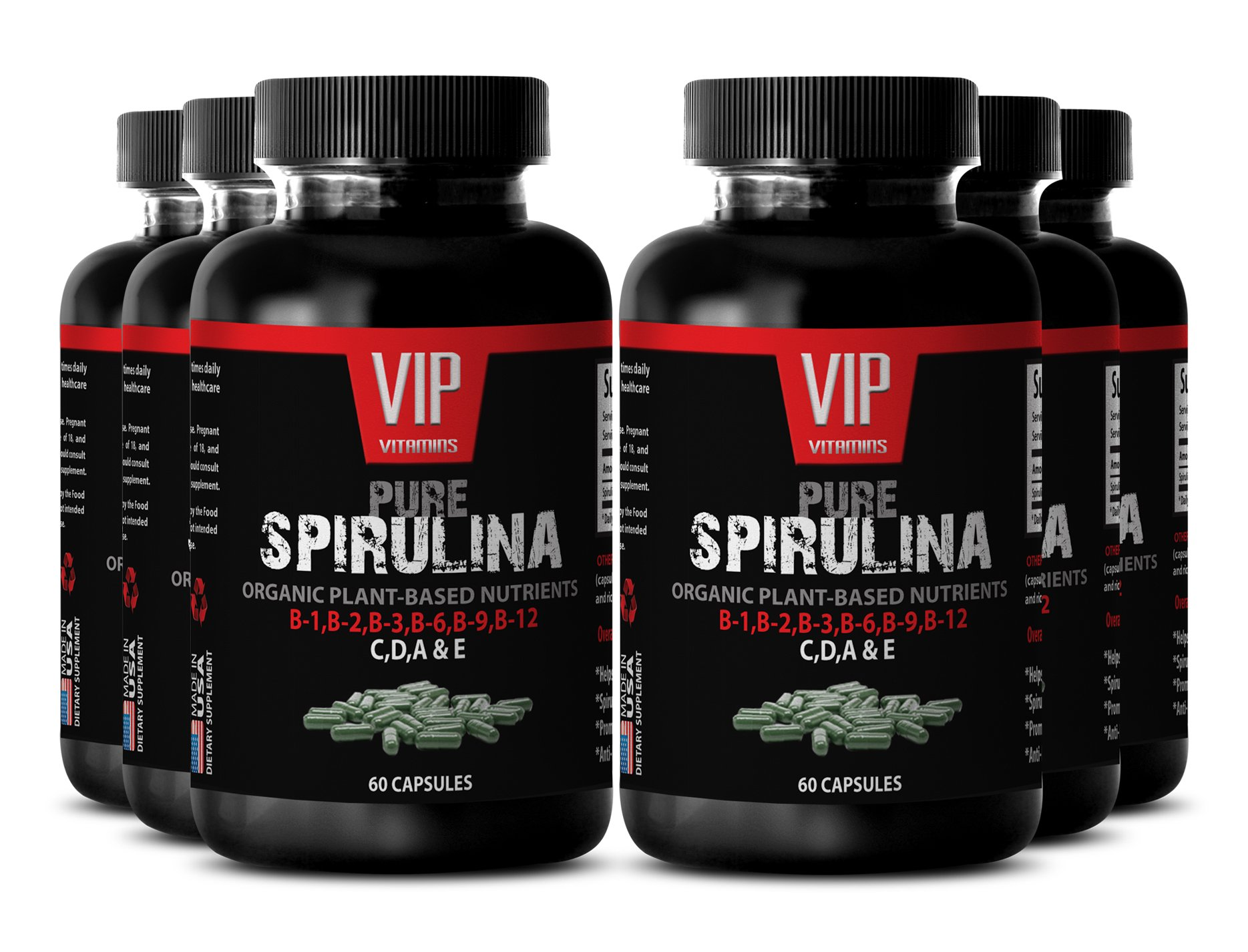 Spirulina 500 mg Extract - For Cellular Health and Energy (6 Bottles 360 Capsules)