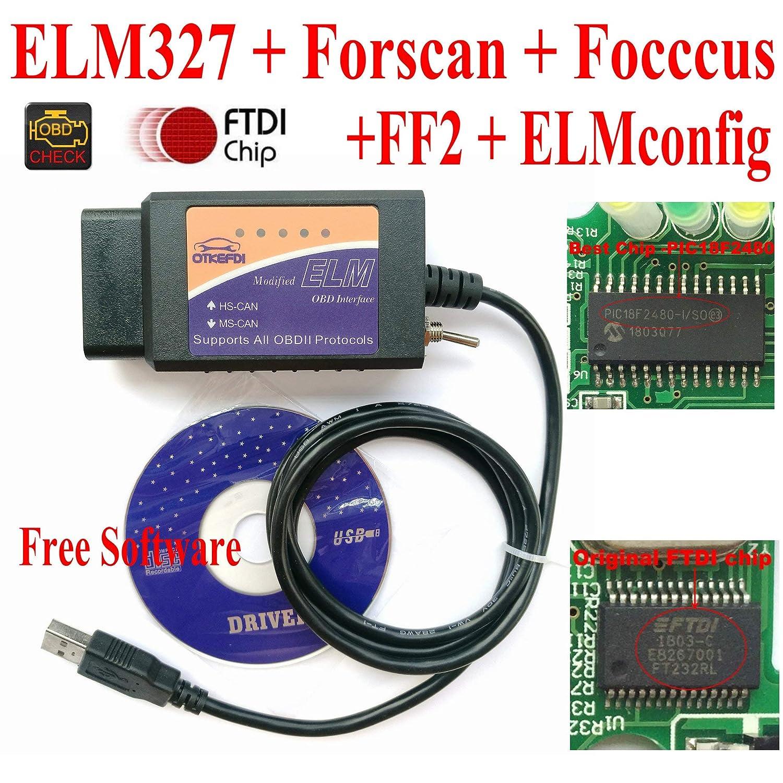 OTKEFDI ELM327, ELM-327 Forscan Elm 327-HS-CAN e MS-Can Modificato ELM327 OBD Forscan Focccus ELMconfig FF2 Software per Focus Mondeo Kuga Edge Exploror F50 Toro Everest Escort OBD-Tool