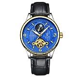 紳士トゥールビヨン防水自動時計メンズムーンフェイズ発光自動巻上げ時計