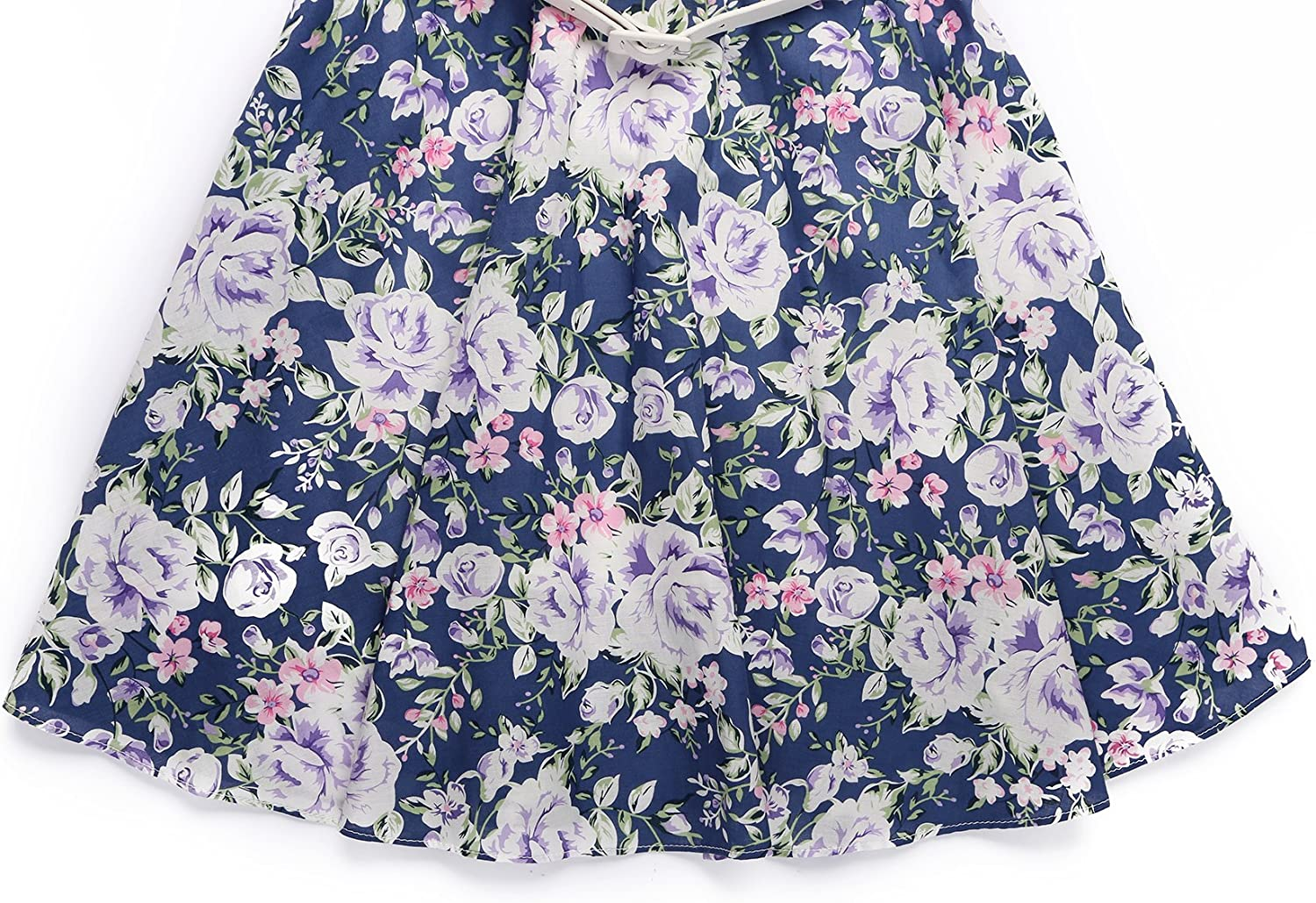 BONNY BILLY Girls Classy Vintage Floral Swing Kids Party Dress with Belt