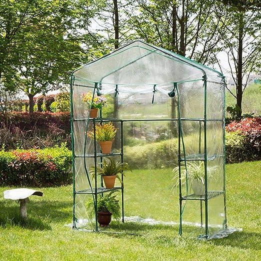Cubierta de Invernadero de plástico Transparente para Plantas de jardín de Flores de PVC, Impermeable, vivero, ventilación Conveniente (143 73 195 cm): Amazon.es: Hogar