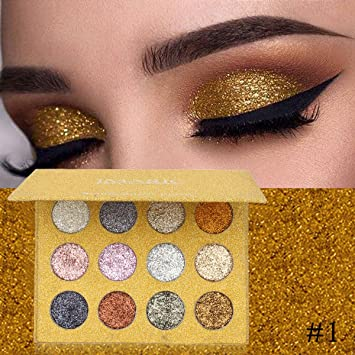 Eye Shadow 12 Color Glitter Eyeshadow Palette Shimmer Gold Shine Eyeshadow Glitter Shiny Eyeshadow Blue Eye Shadows Cosmetics Tool Diamond Beauty Essentials