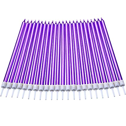 Amazon Blulu 50 Pieces Long Thin Metallic Birthday Cake Candles In Holders For Wedding Party Decorations Purple Kitchen Dining