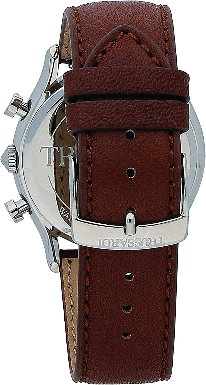 B07BFG57R9 TRUSSARDI Men\'s T-Light Stainless Steel Analog-Quartz Leather Strap, Brown, 16 Casual Watch (Model: R2451127002) 81kxAVES2bL.UL1500_