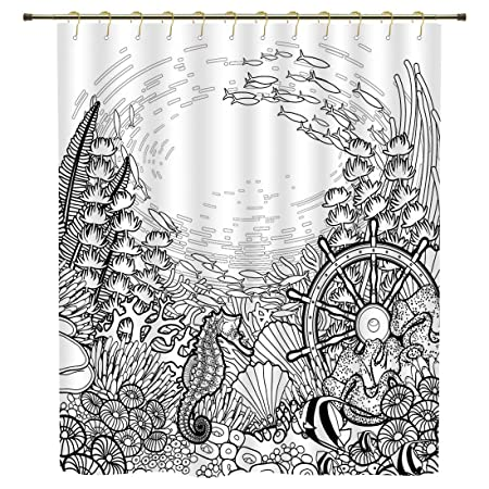 Shower CurtainAquariumGraphic Coral Reef With Sea Horse Ocean Fish And Sunken Ship