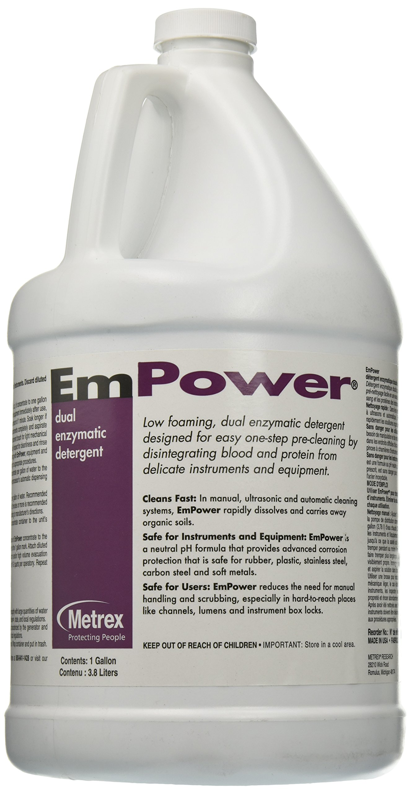 Metrex 10-4100 EmPower Dual-Enzymatic Detergent, 1 gal Capacity
