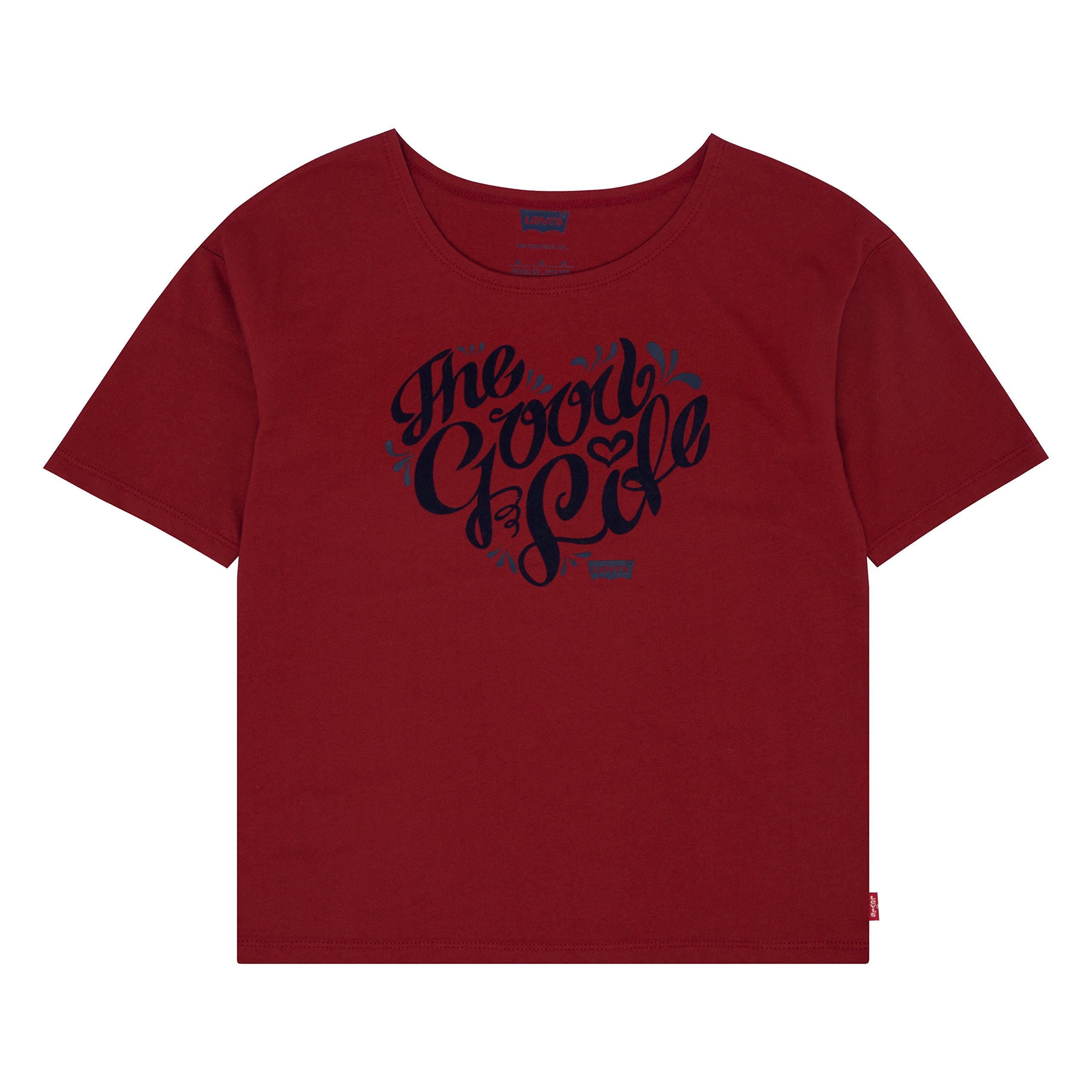Levi's Big Girls' Graphic T-Shirt, Red Dhalia, XL