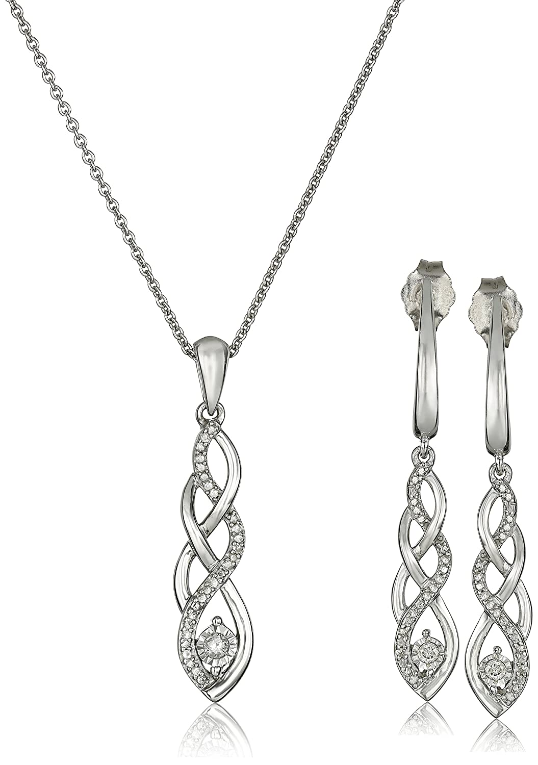 Amazon sterling silver diamond twist pendant necklace and amazon sterling silver diamond twist pendant necklace and earrings box set 15 cttw 18 jewelry sets jewelry aloadofball