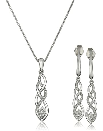 c0a09d2ca Sterling Silver Diamond Twist Pendant Necklace and Earrings Box Set (1/5  cttw)