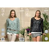 1217c73fa King Cole Womens Knitting Pattern Ladies Opium Easy Knit Round or V Neck  Sweaters 3752