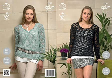 King Cole Womens Knitting Pattern Ladies Opium Easy Knit Round Or V