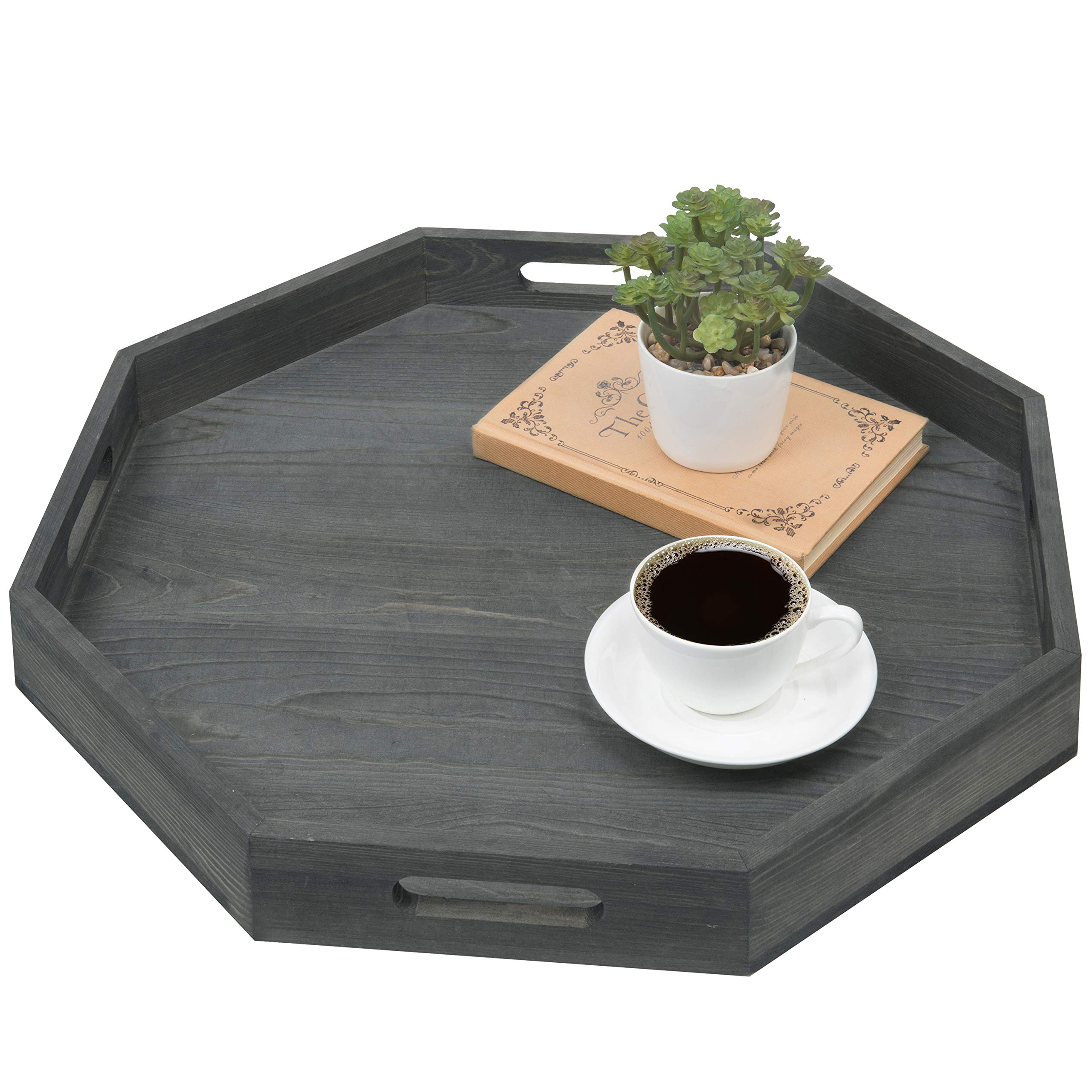 MyGift Vintage Grey Wood Octagonal Serving Tray with Cutout Handles