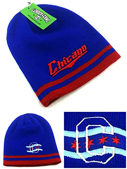 5d5cbdd9d48 Amazon.com  Chicago Leader New Knit Beanie Toque City of Flag Cubs Colors Blue  Red Era Skull Hat Cap  Sports   Outdoors