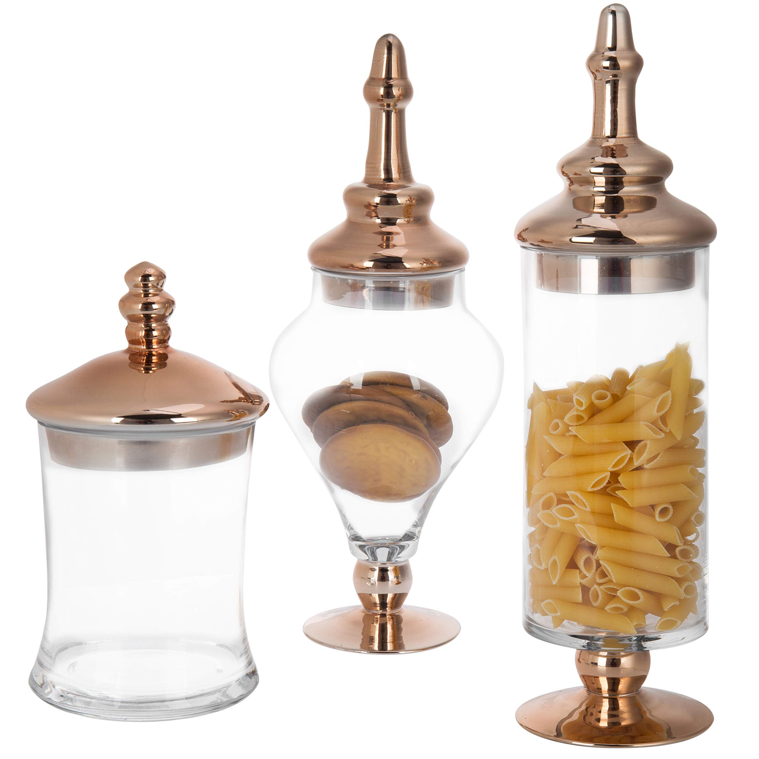 MyGift Set of 3 Antique-Style Glass Apothecary Jars with Metallic Copper-Tone Lids by MyGift