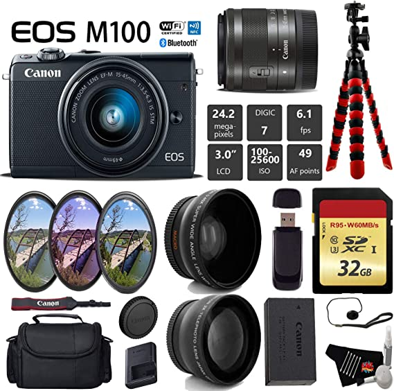 Canon EOS M100 Mirrorless Digital Camera (Black) with 15-45mm Lens + UV FLD CPL Filter Kit + Wide Angle & Telephoto Lens + Camera Case + Tripod + Card Reader - International Version