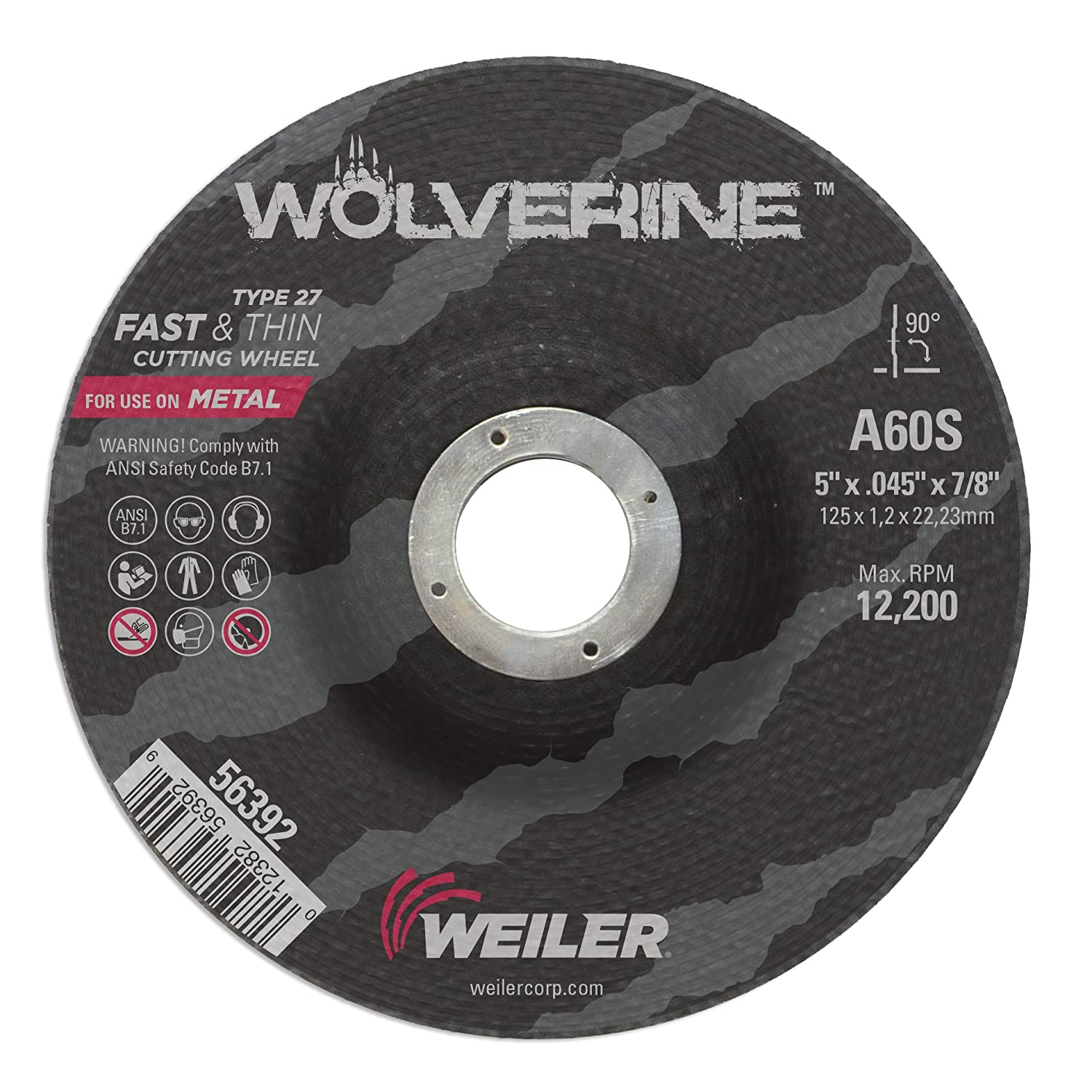 Pack of 100 A60S 30012382563920 Weiler 56392 5 x 0.045 Wolverine Type 27 Thin Cutting Wheel 7//8 A.H. 7//8 A.H. Pack of 100