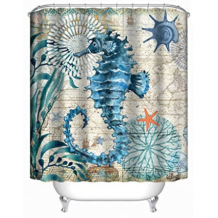 Uphome Sea Horse Fabric Shower Curtain Blue Nautical Map Navigation Under The