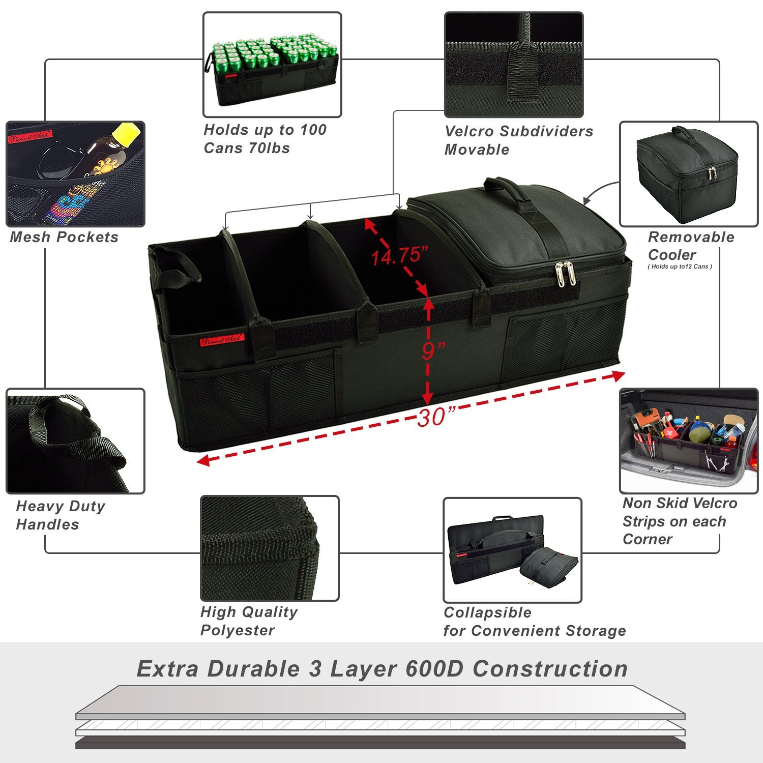 Picnic at Ascot - Ultimate Heavy Duty Trunk Organizer w/Cooler - No Slide Rigid Base -70 LB Capacity - 30'' Wide x 14.75'' deep x 9'' high - Black- 2 Pack by Picnic at Ascot (Image #3)