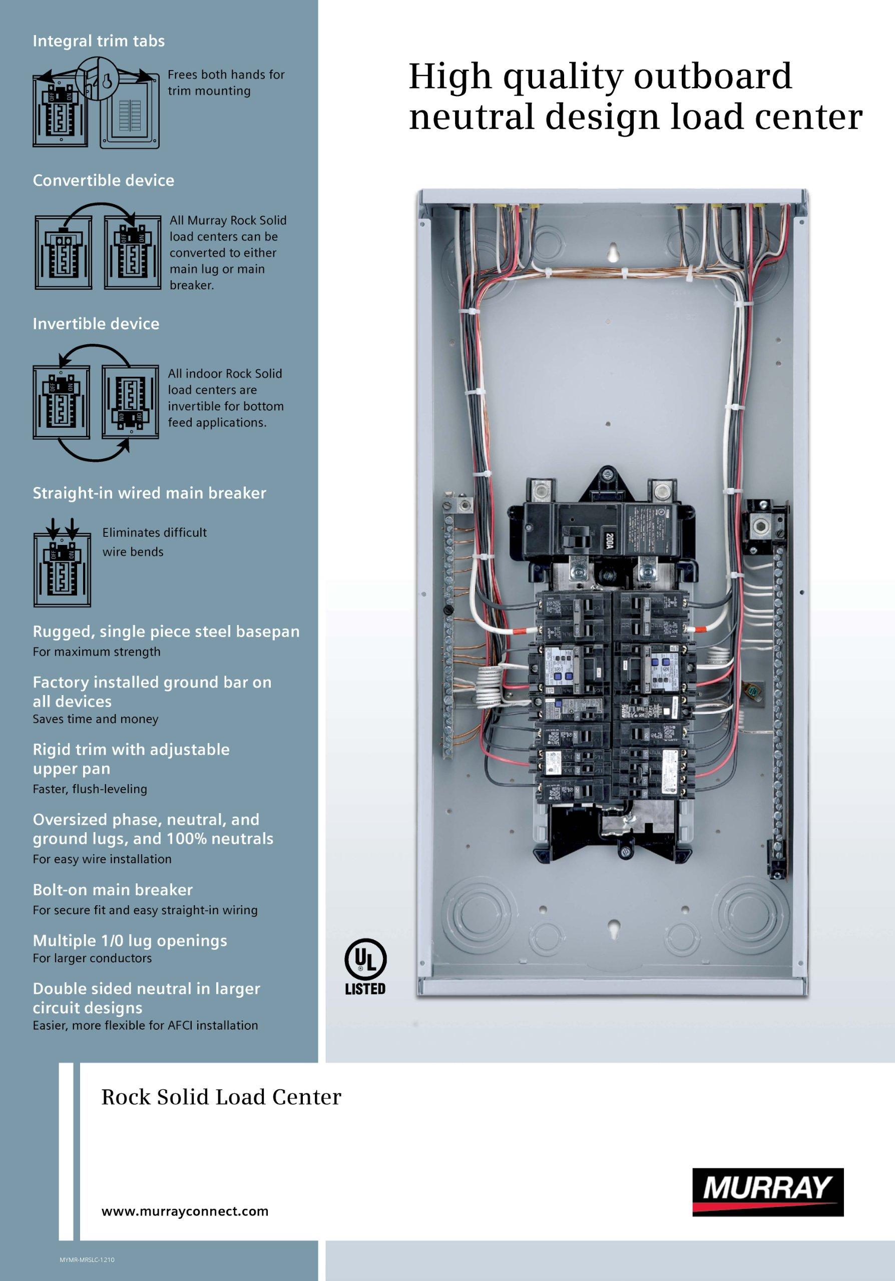 Murray Lc2440b1200 Generator Ready Load Center 30 Space 42 Circuit 225 Amp Main Lug Indoor