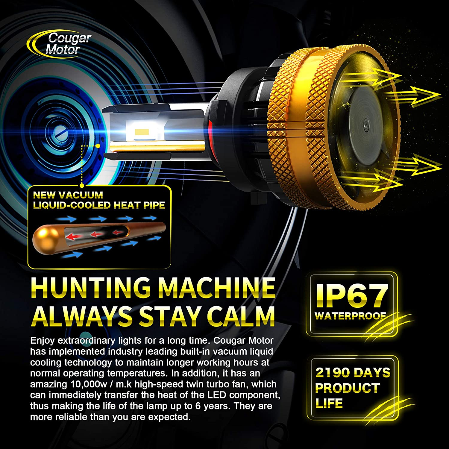 Adjustable Beam Cougar Motor Ultimate 9005 LED Headlight Bulb High-focus HB3 20000LM Extremely Bright 6500K Cool White Conversion Kit