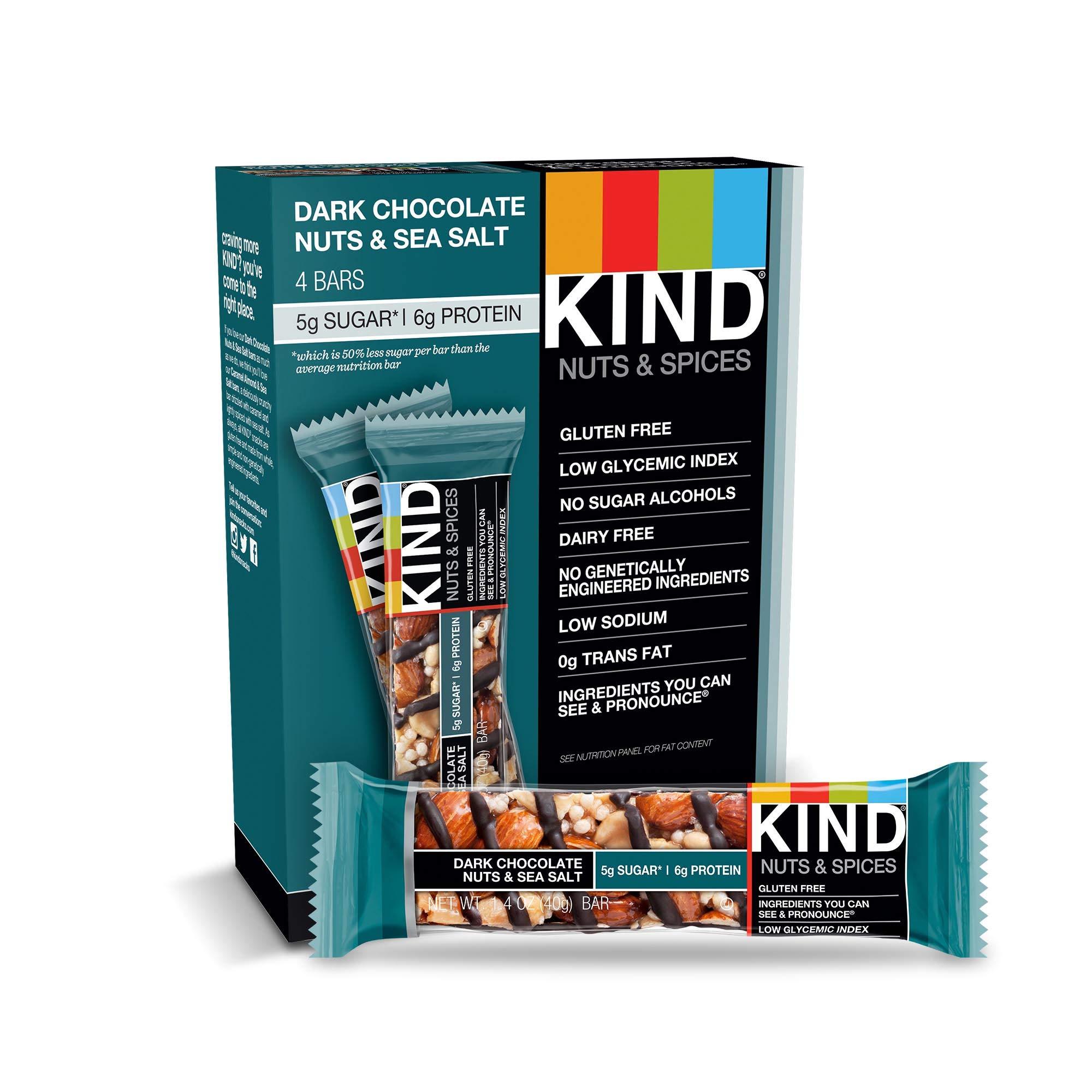 KIND Bars, Dark Chocolate Nuts & Sea Salt, Gluten Free, Low Sugar, 1.4oz, 48 Count